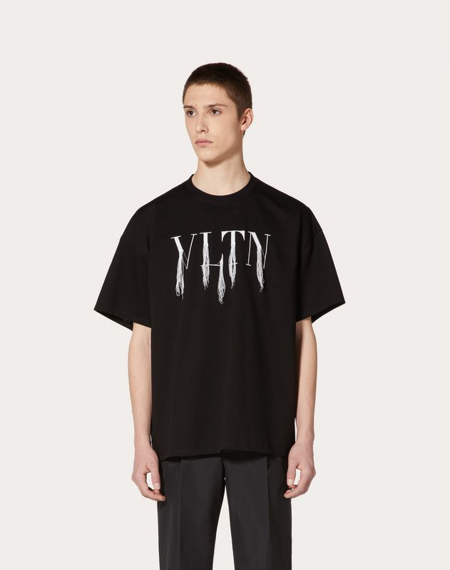 VLTN T-shirt with fringe detail in collaboration with Doublet