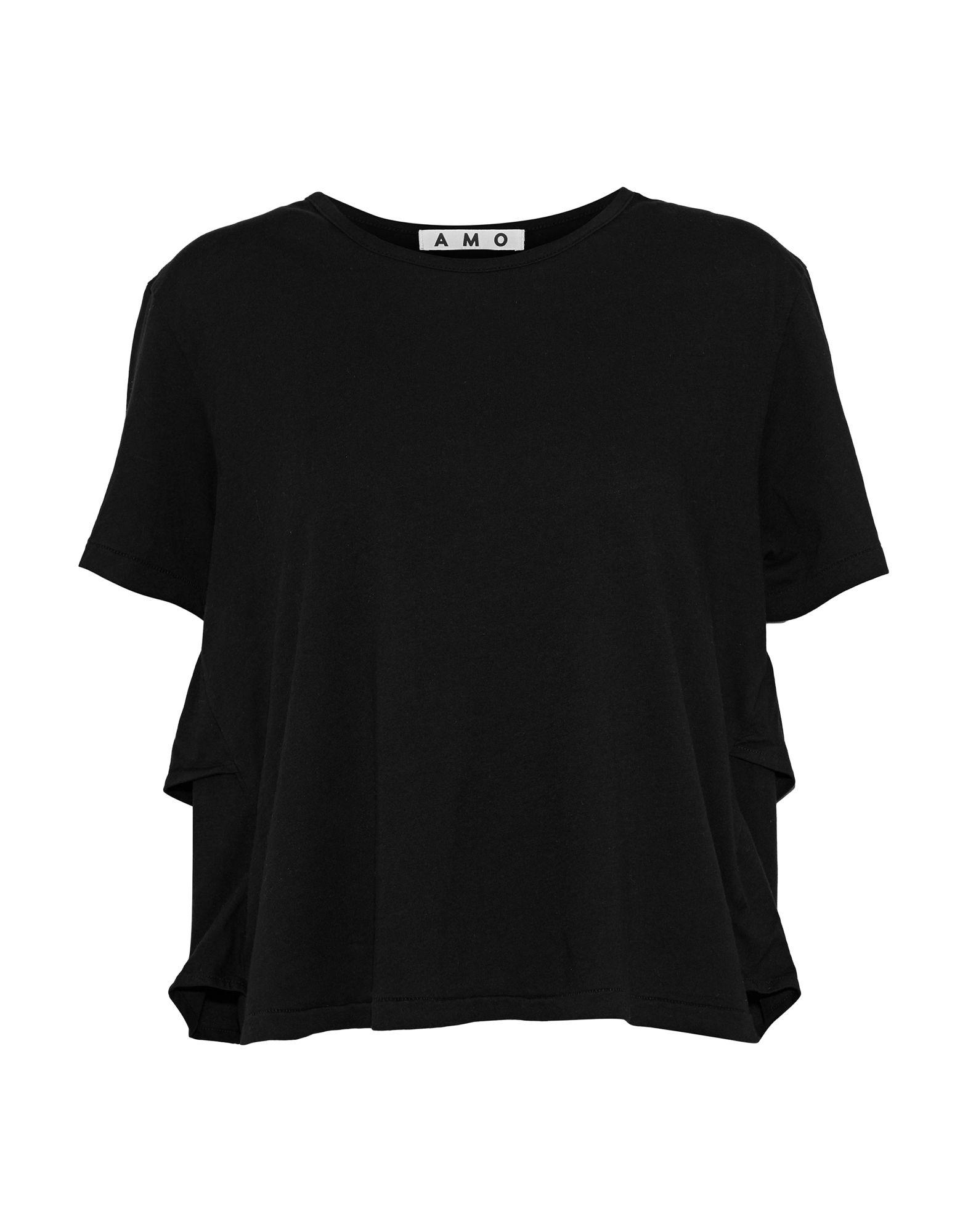 《期間限定 セール開催中》AMO レディース T シャツ ブラック XS コットン 100%