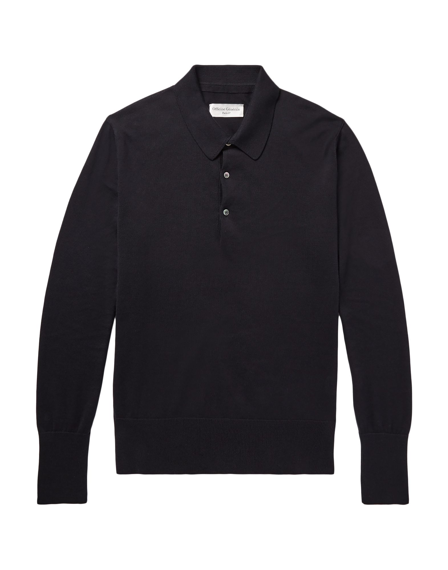 OFFICINE GÉNÉRALE Paris 6 Polo shirts. knitted, no appliqués, solid color, polo collar, long sleeves, front closure, knitted cuffs, button closing, no pockets, lightweight sweater. 100% Cotton