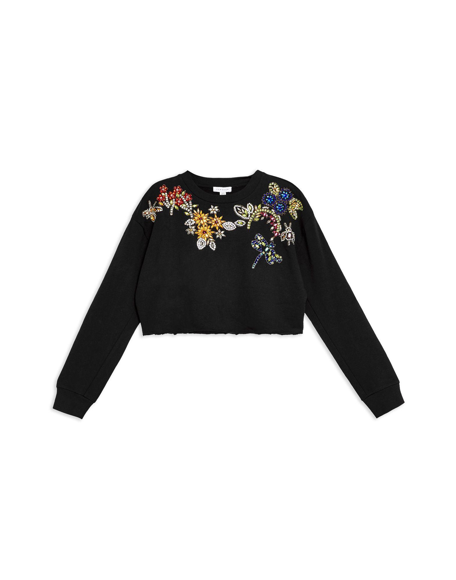 《セール開催中》TOPSHOP レディース スウェットシャツ ブラック 10 コットン 100% FLOWER EMBELLISHED SWEAT