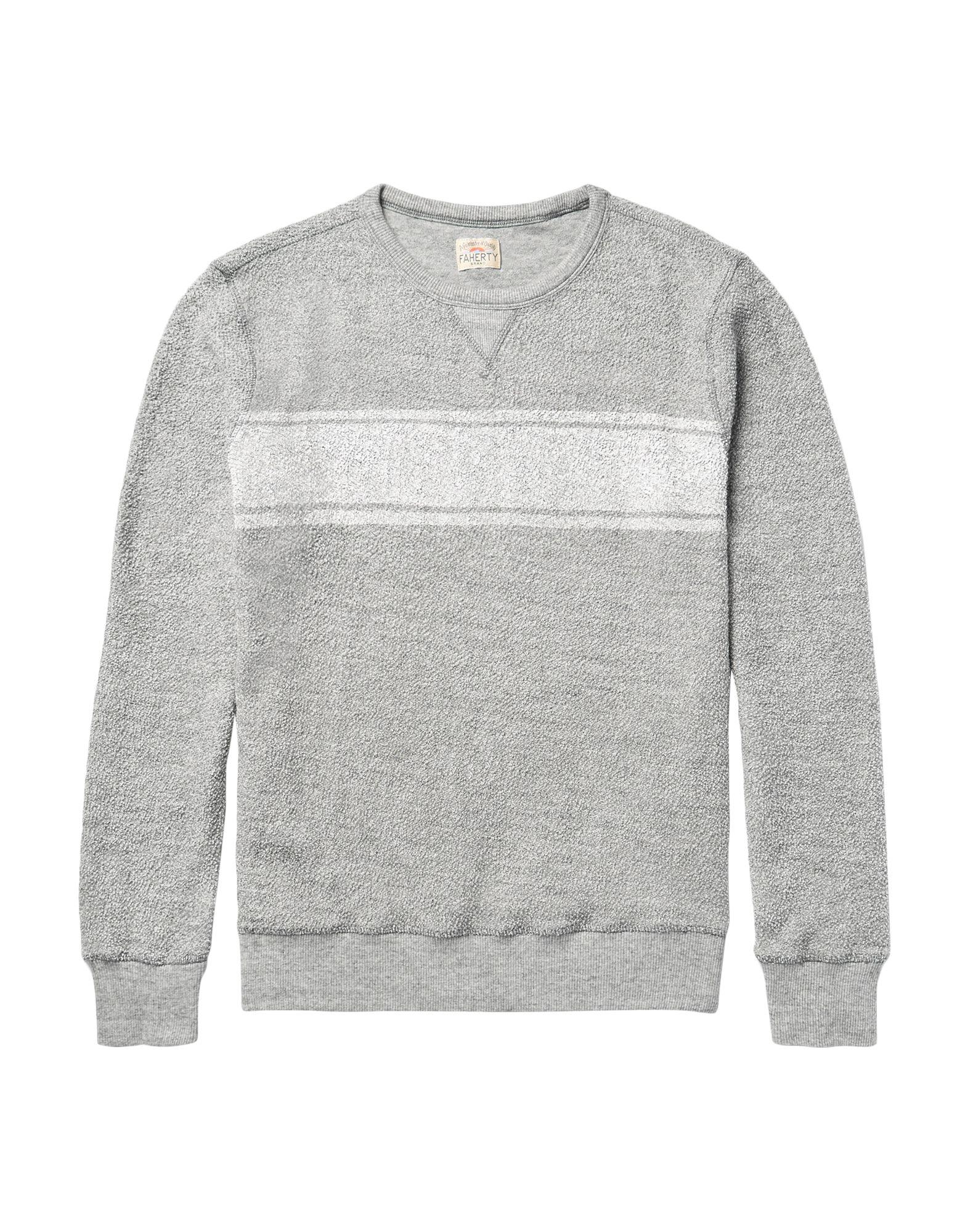 FAHERTY Sweatshirts. logo, print, solid color, long sleeves, round collar, no pockets. 100% Cotton