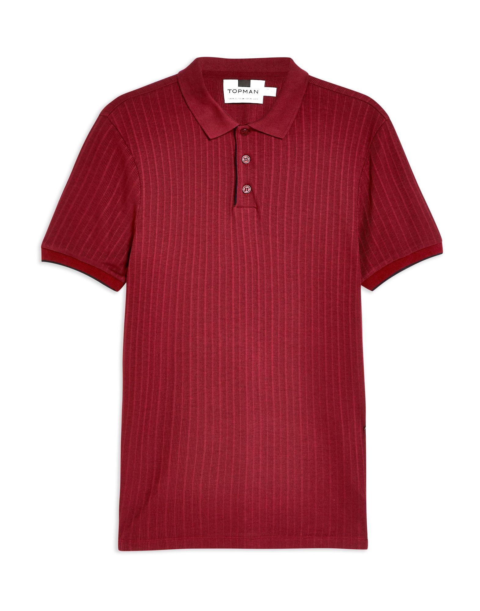 《セール開催中》TOPMAN メンズ ポロシャツ ボルドー L レーヨン 100% SMART VISCOSE RIBBED POLO