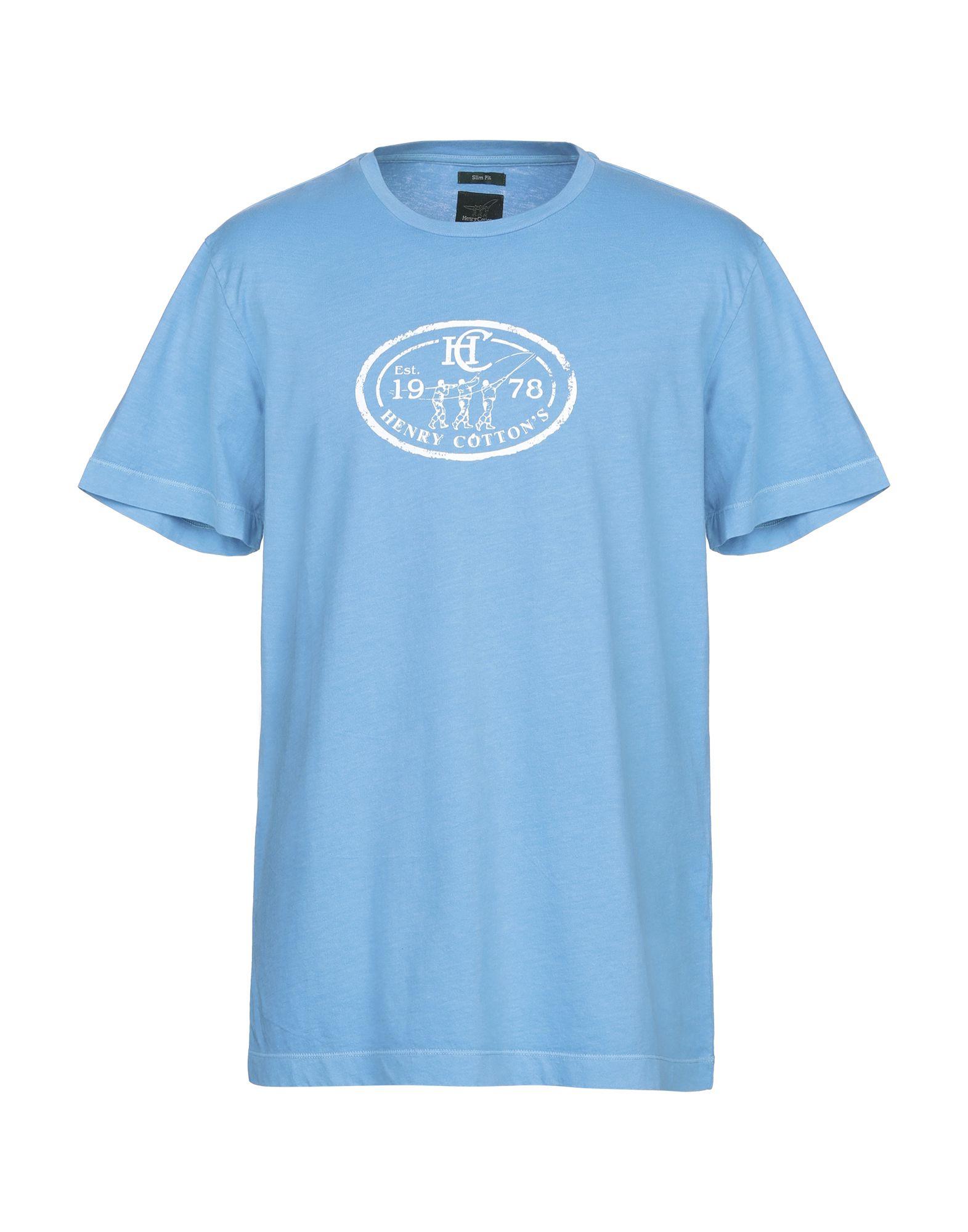 《送料無料》HENRY COTTON'S メンズ T シャツ アジュールブルー XL コットン 100%