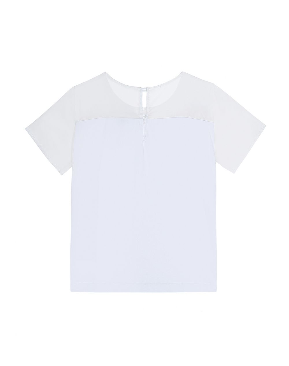 WHITE MIXED MATERIAL T-SHIRT   - Lanvin