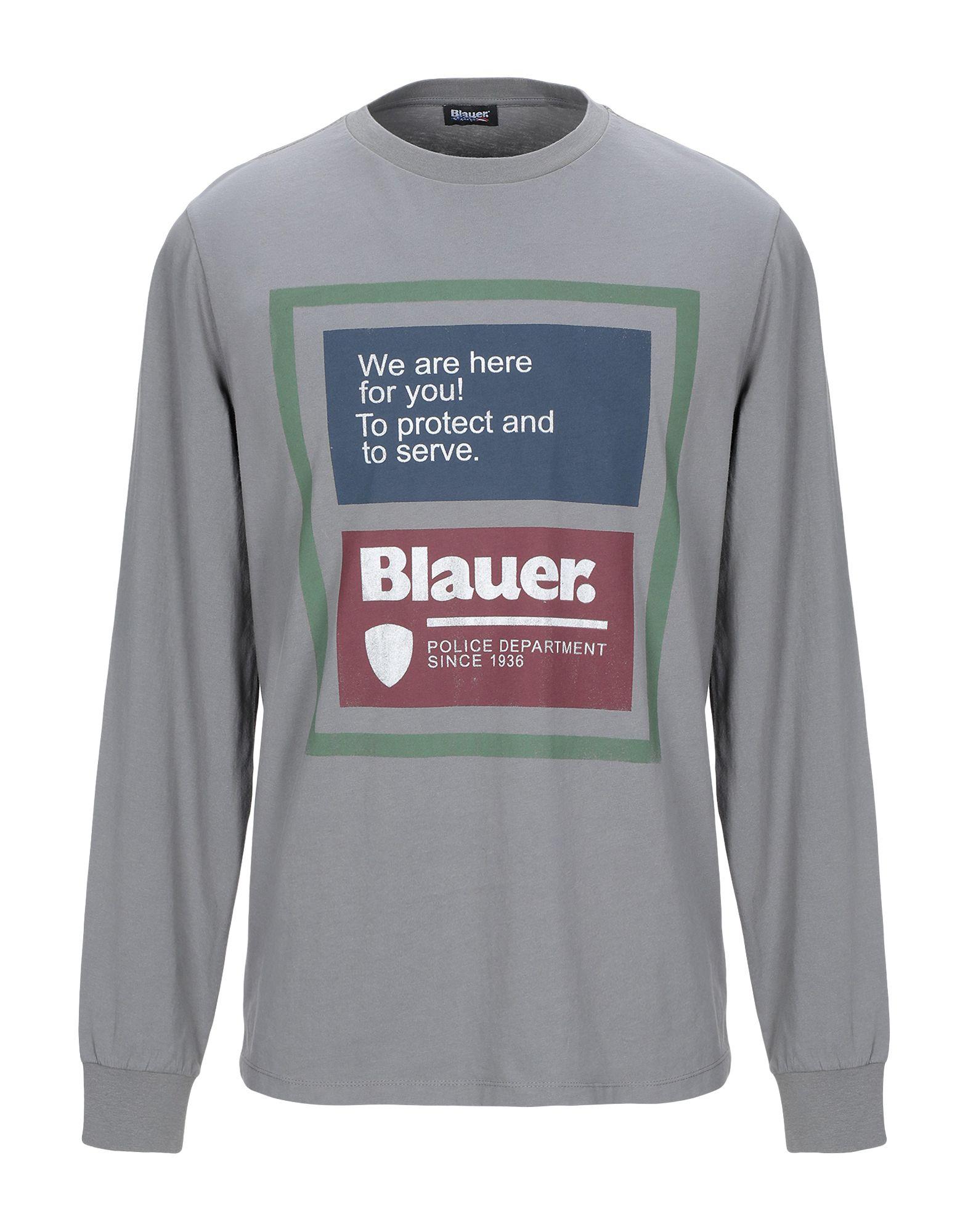 《送料無料》BLAUER メンズ T シャツ 鉛色 L コットン 100%