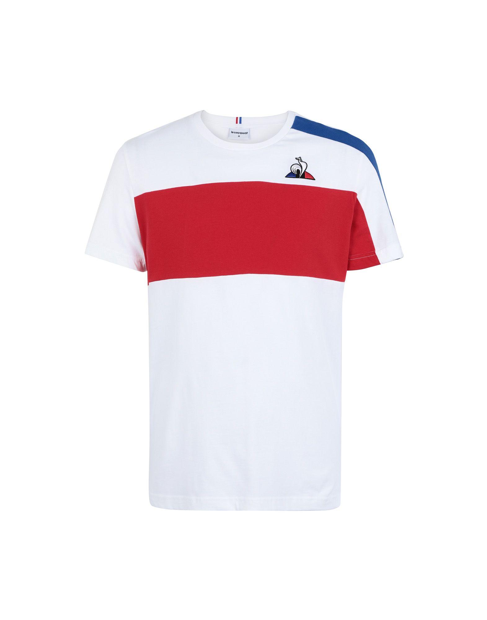 《セール開催中》LE COQ SPORTIF メンズ T シャツ ホワイト S コットン 100% TRI Tee SS N°6