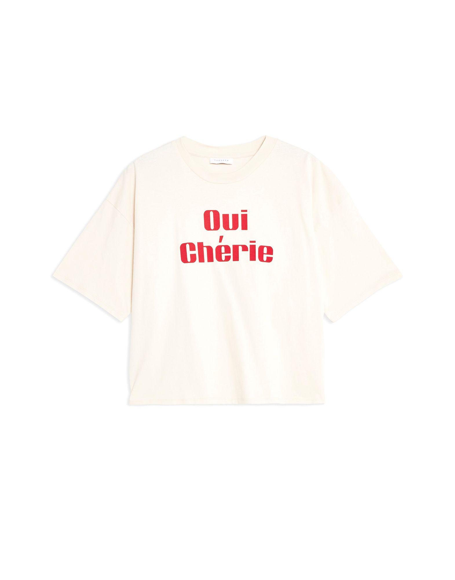 《期間限定セール中》TOPSHOP レディース T シャツ ベージュ 6 コットン 100% 'OUI CHERIE' SLOGAN T-SHIRT