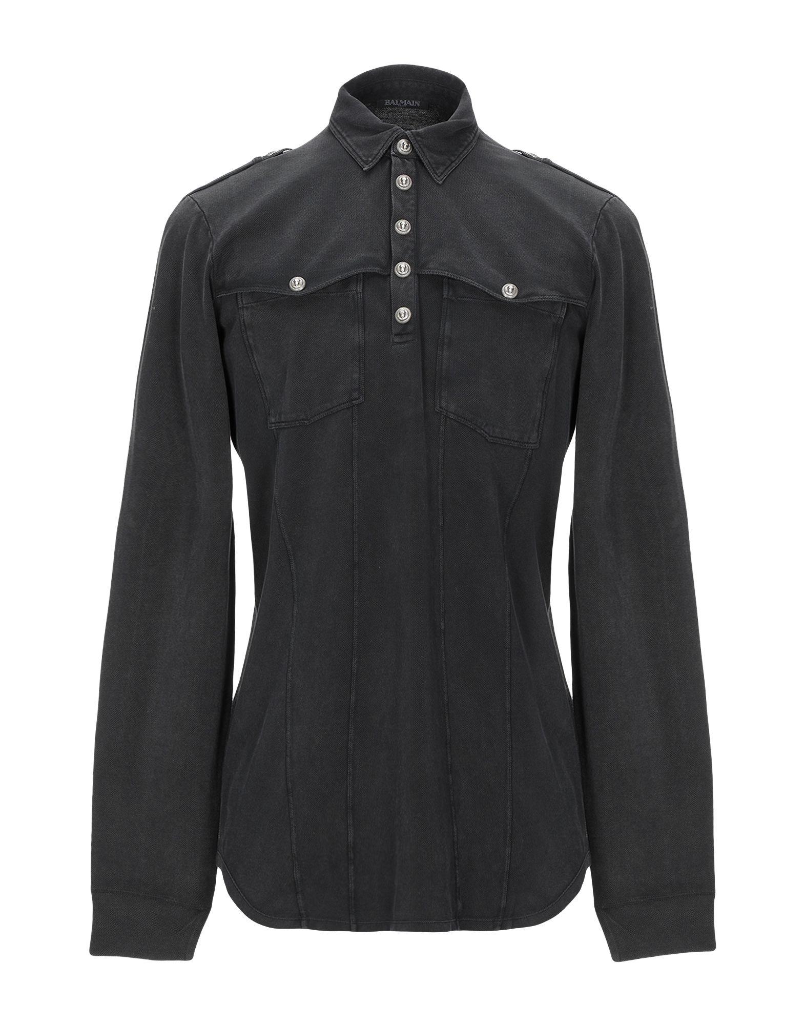BALMAIN Polo shirts. piqué, logo, contrasting applications, solid color, polo collar, long sleeves, front closure, snap button fastening, multipockets. 100% Cotton