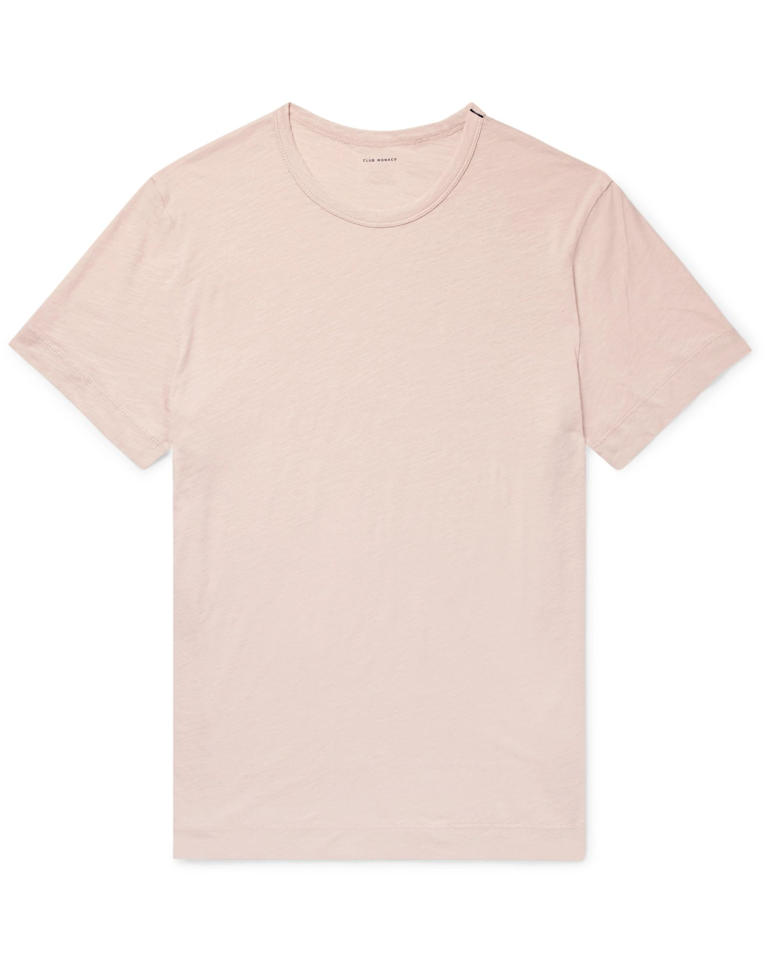 CLUB MONACO T-shirts. jersey, no appliqués, basic solid color, round collar, short sleeves, no pockets. 100% Cotton