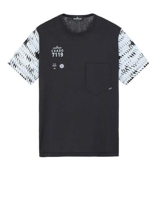 STONE ISLAND SHADOW PROJECT 20110 PRINTED SS CATCH POCKET-T  短袖 T 恤 男士 黑色