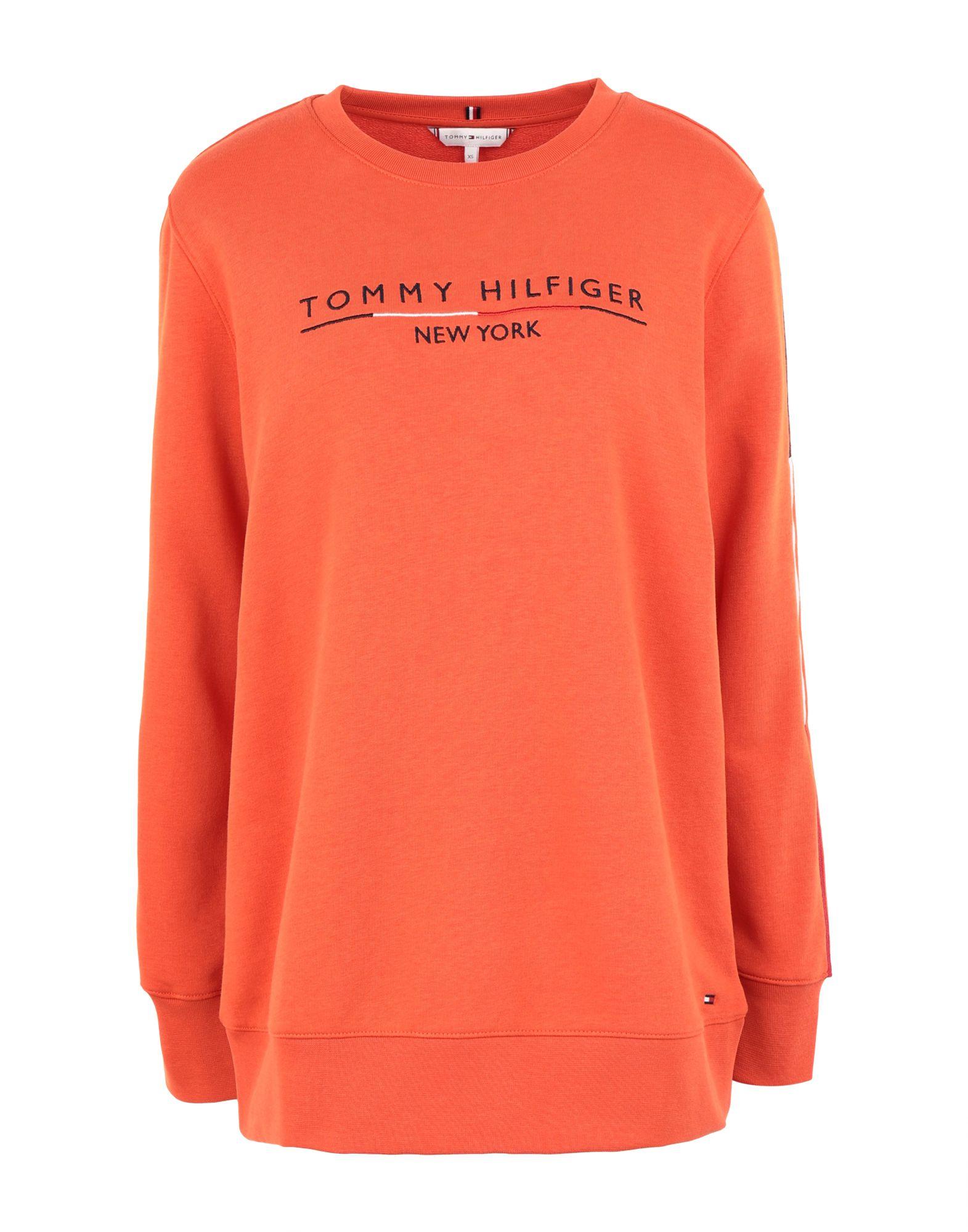 《セール開催中》TOMMY HILFIGER レディース スウェットシャツ オレンジ XS コットン 65% / ポリエステル 35% CHARLOT C-NK SWEATSH