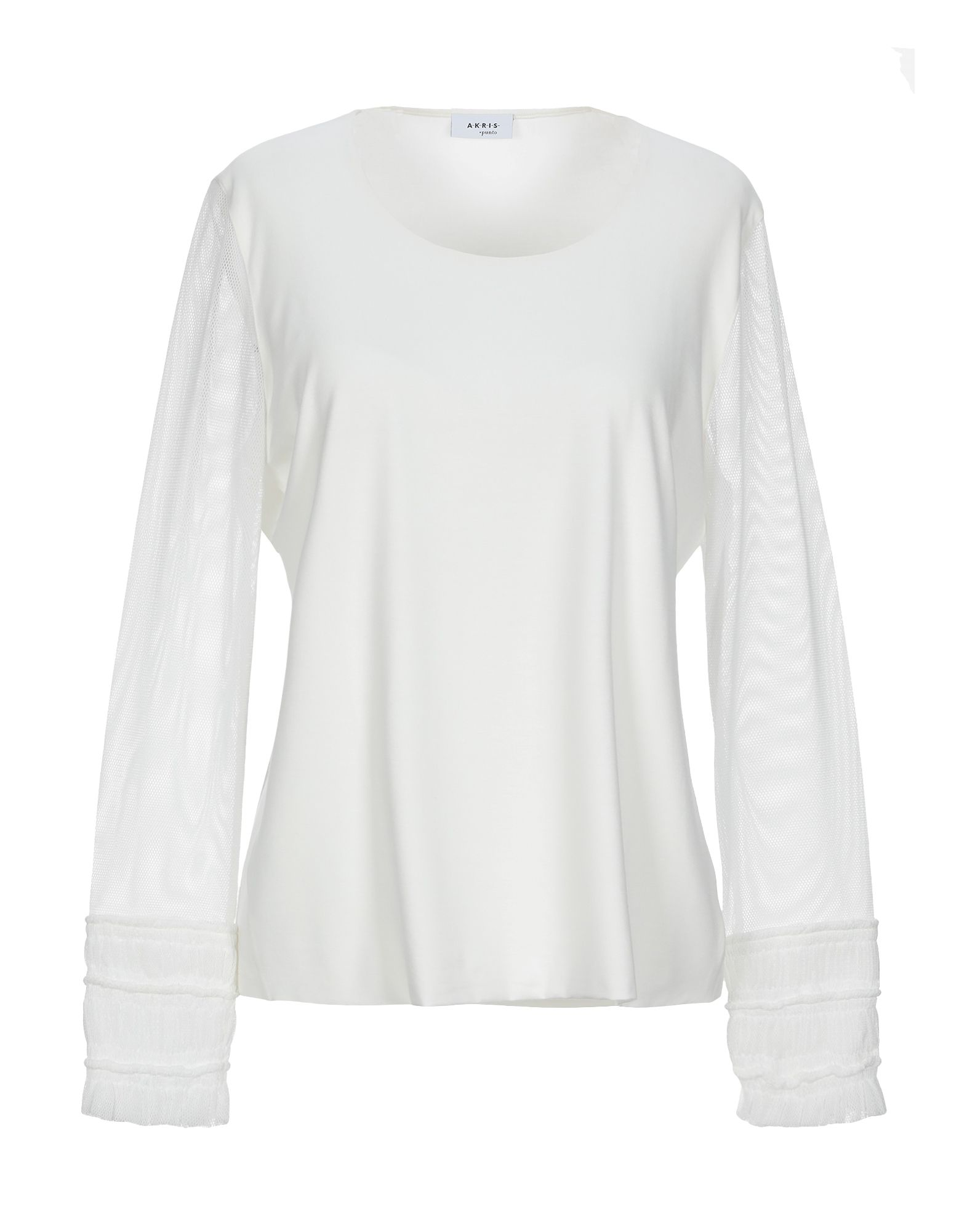 AKRIS PUNTO T-shirts. tulle, jersey, no appliqués, basic solid color, round collar, long sleeves, stretch. 95% Modal, 5% Elastane, Polyester