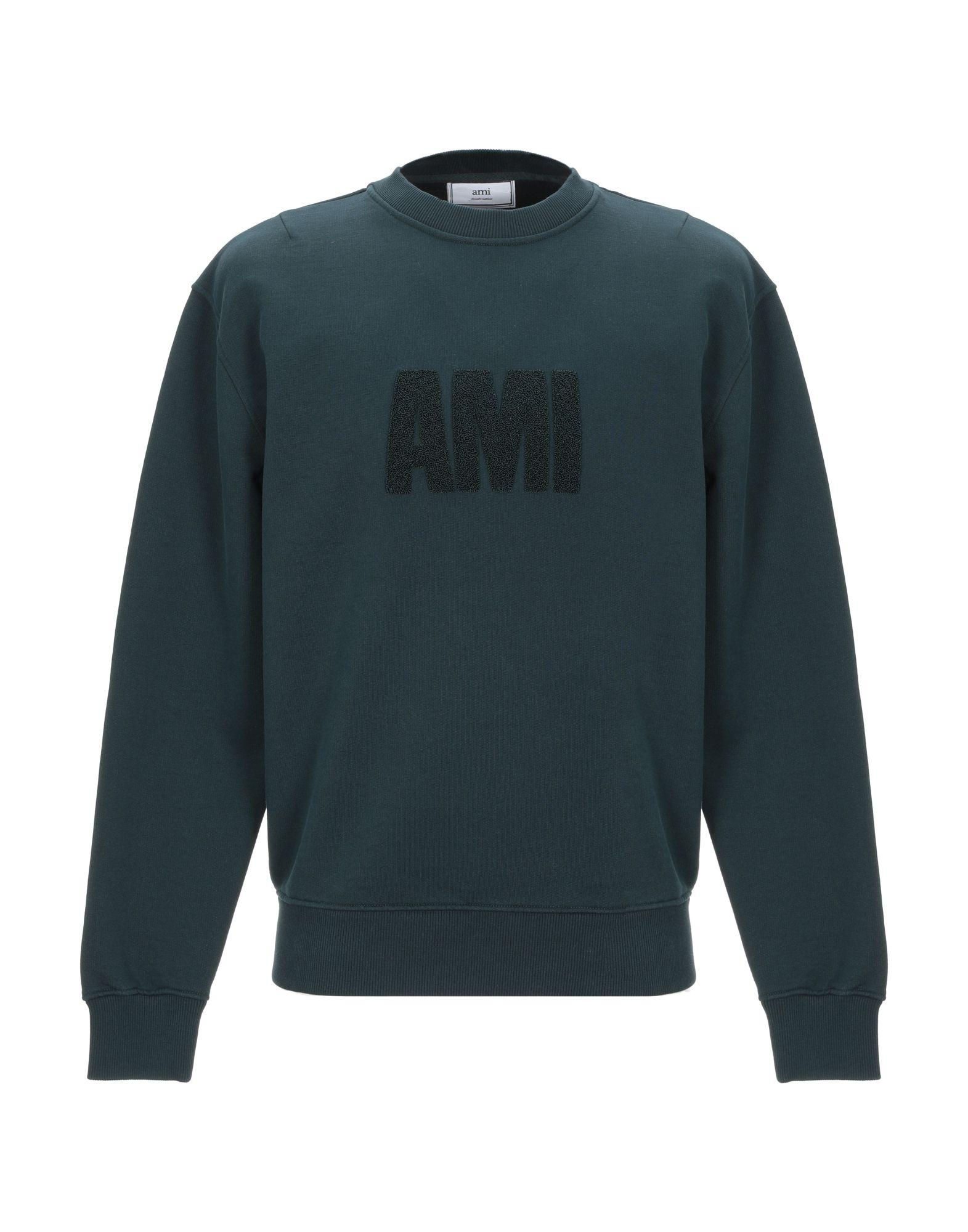 《期間限定セール開催中!》AMI ALEXANDRE MATTIUSSI メンズ スウェットシャツ ダークグリーン S コットン 100%