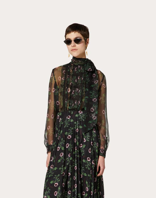 Undercover Print Chiffon and Lace Top