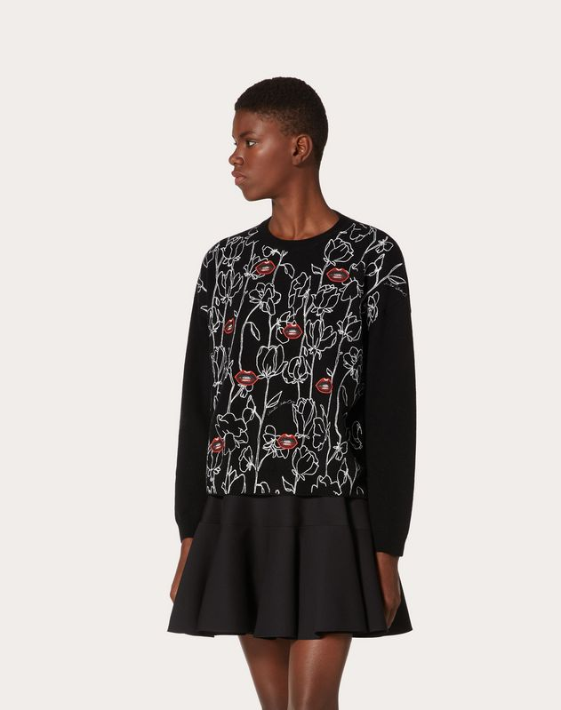 Undercover Inlay Wool and Cashmere Sweater with Embroidered Patch