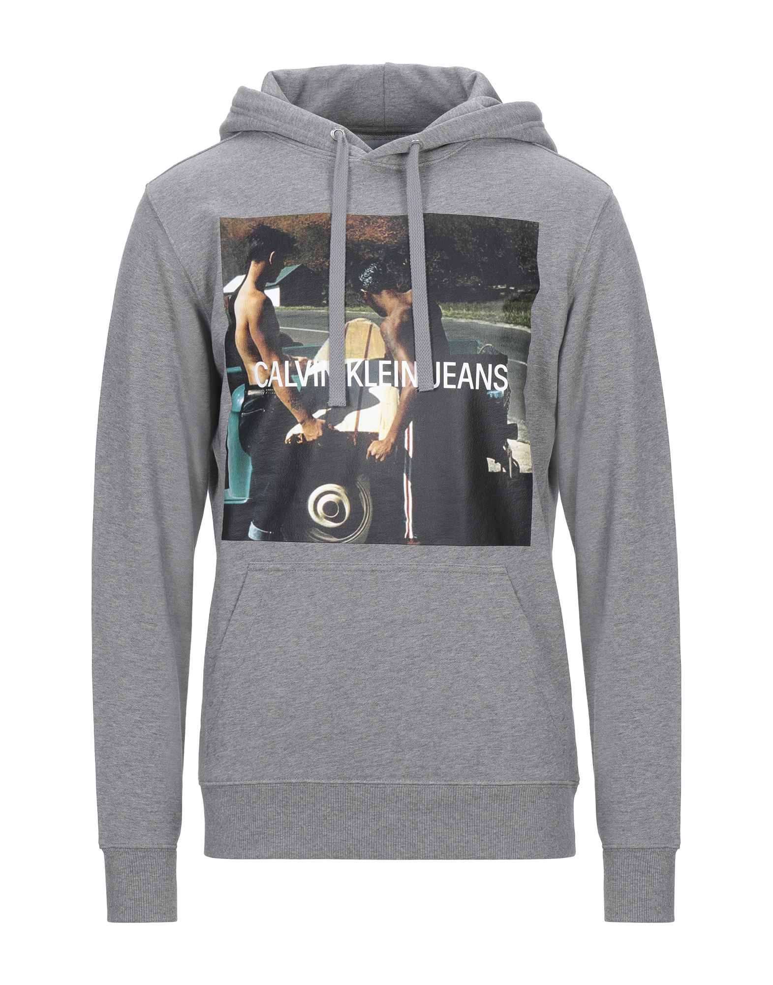 《セール開催中》CALVIN KLEIN JEANS メンズ スウェットシャツ グレー L コットン 100% PHOTOPRINT HOODIE