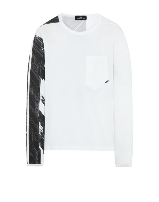 STONE ISLAND SHADOW PROJECT 20210 PRINTED LS CATCH POCKET-T  Long sleeve t-shirt Man Natural White