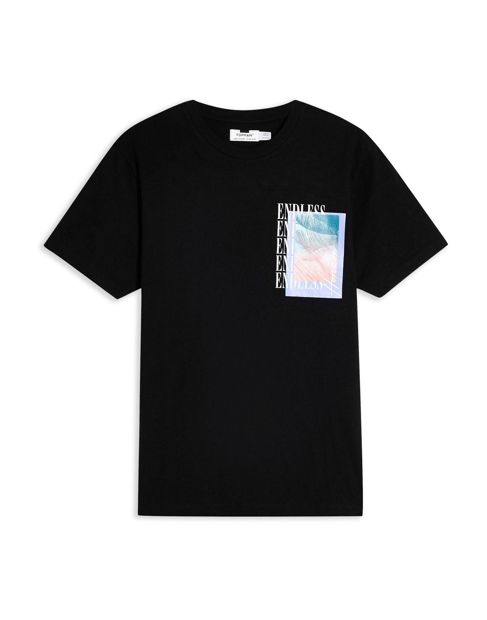 《期間限定セール開催中!》TOPMAN メンズ T シャツ ブラック M コットン 100% BLACK 'ENDLESS' PRINT T-SHIRT