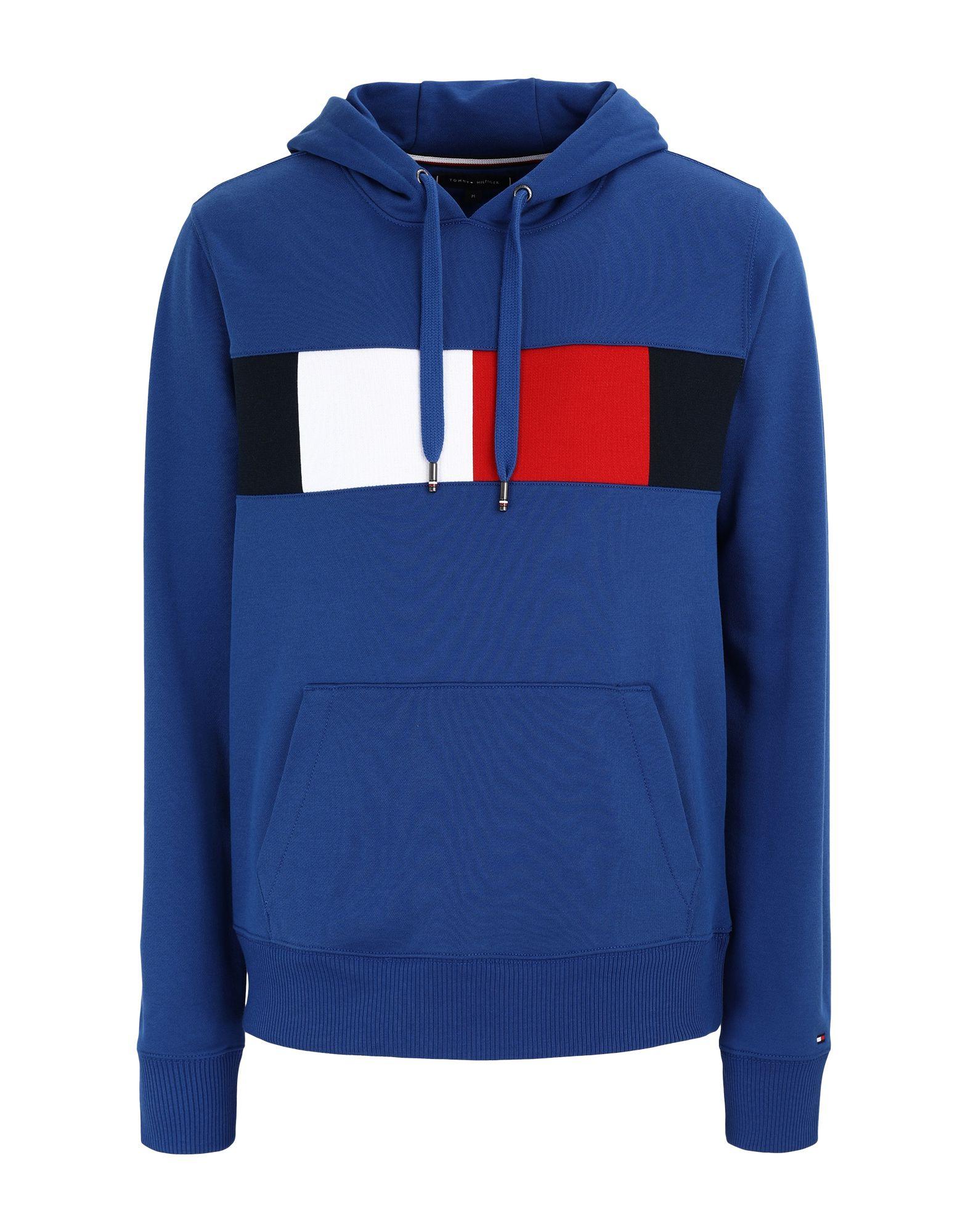 《期間限定 セール開催中》TOMMY HILFIGER メンズ スウェットシャツ ブルー S コットン 100% FLAG CHEST INSERT HO