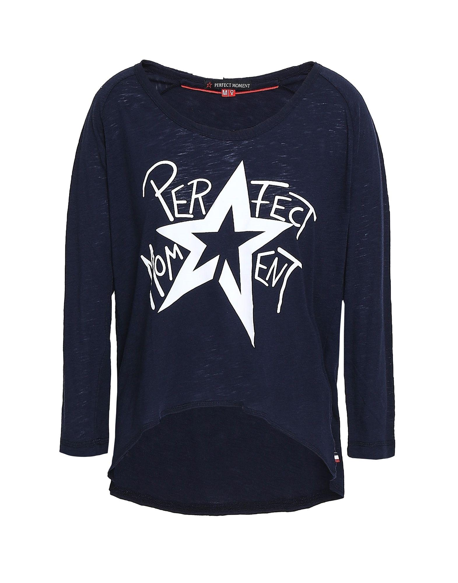 《セール開催中》PERFECT MOMENT レディース T シャツ ダークブルー XS コットン 60% / ポリエステル 40%