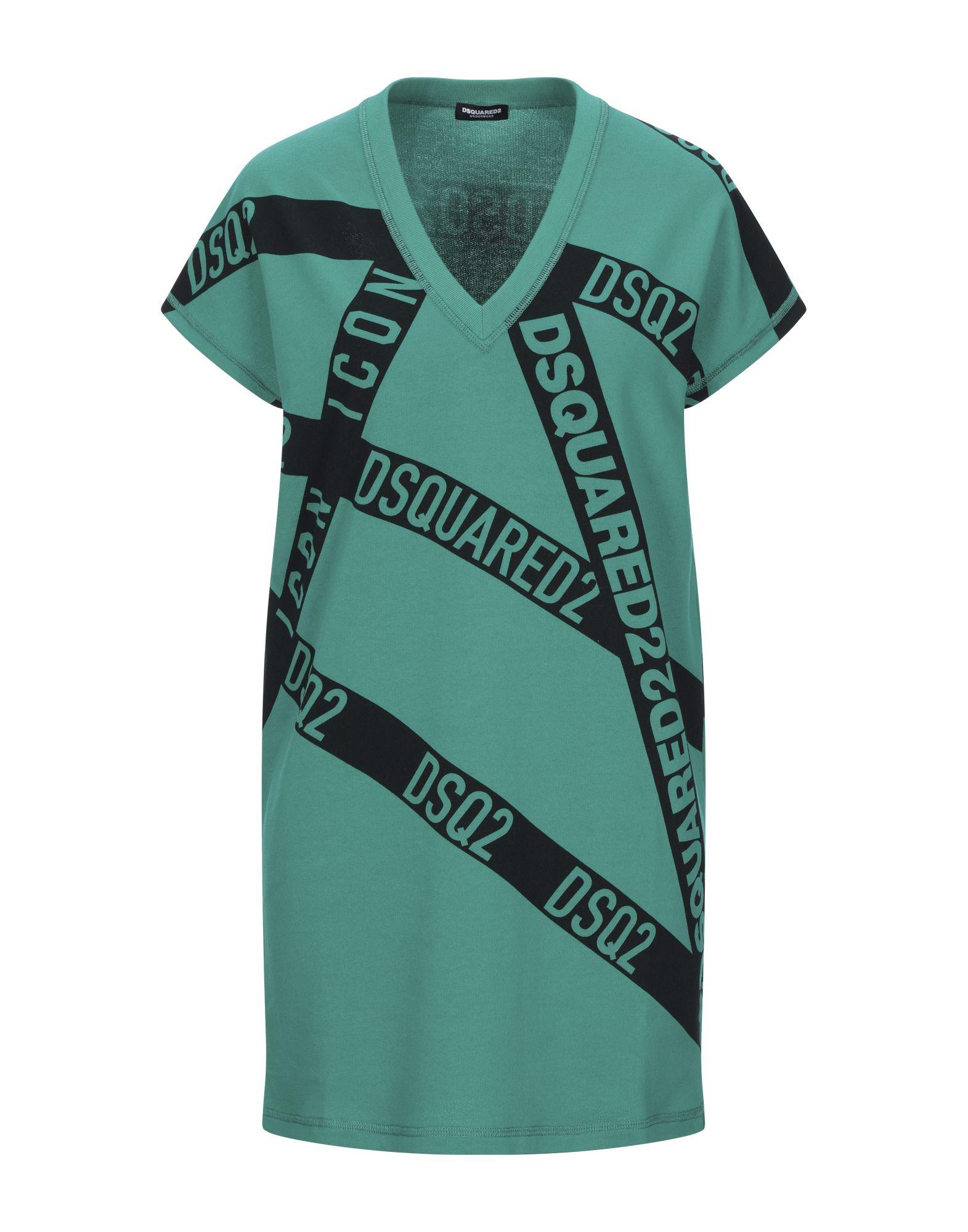 DSQUARED2 Nightgowns. sweatshirt fleece, no appliqués, logo design, short sleeves, v-neck, no pockets, french terry lining. 100% Cotton