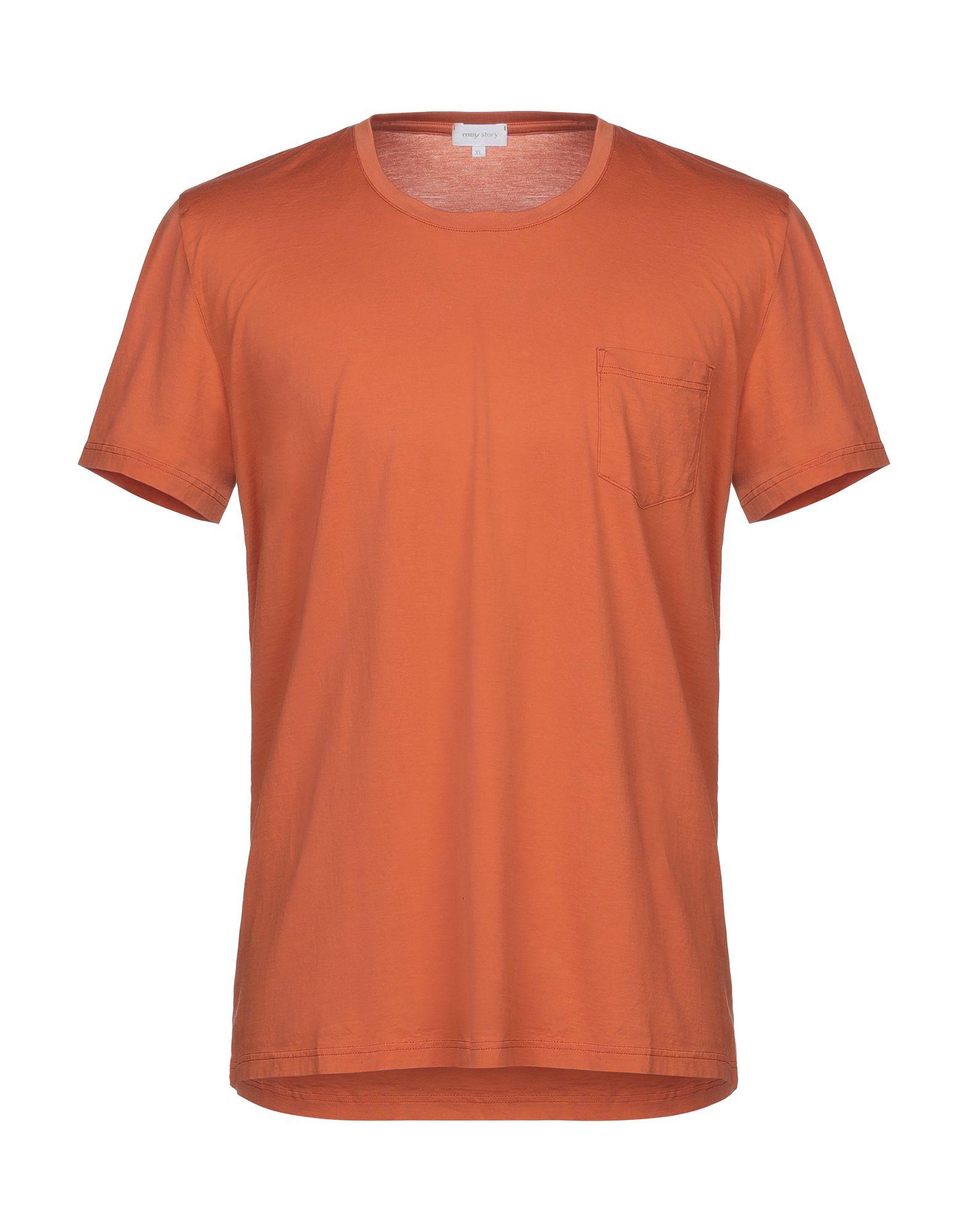 《セール開催中》MEY STORY メンズ T シャツ オレンジ XL コットン 100%
