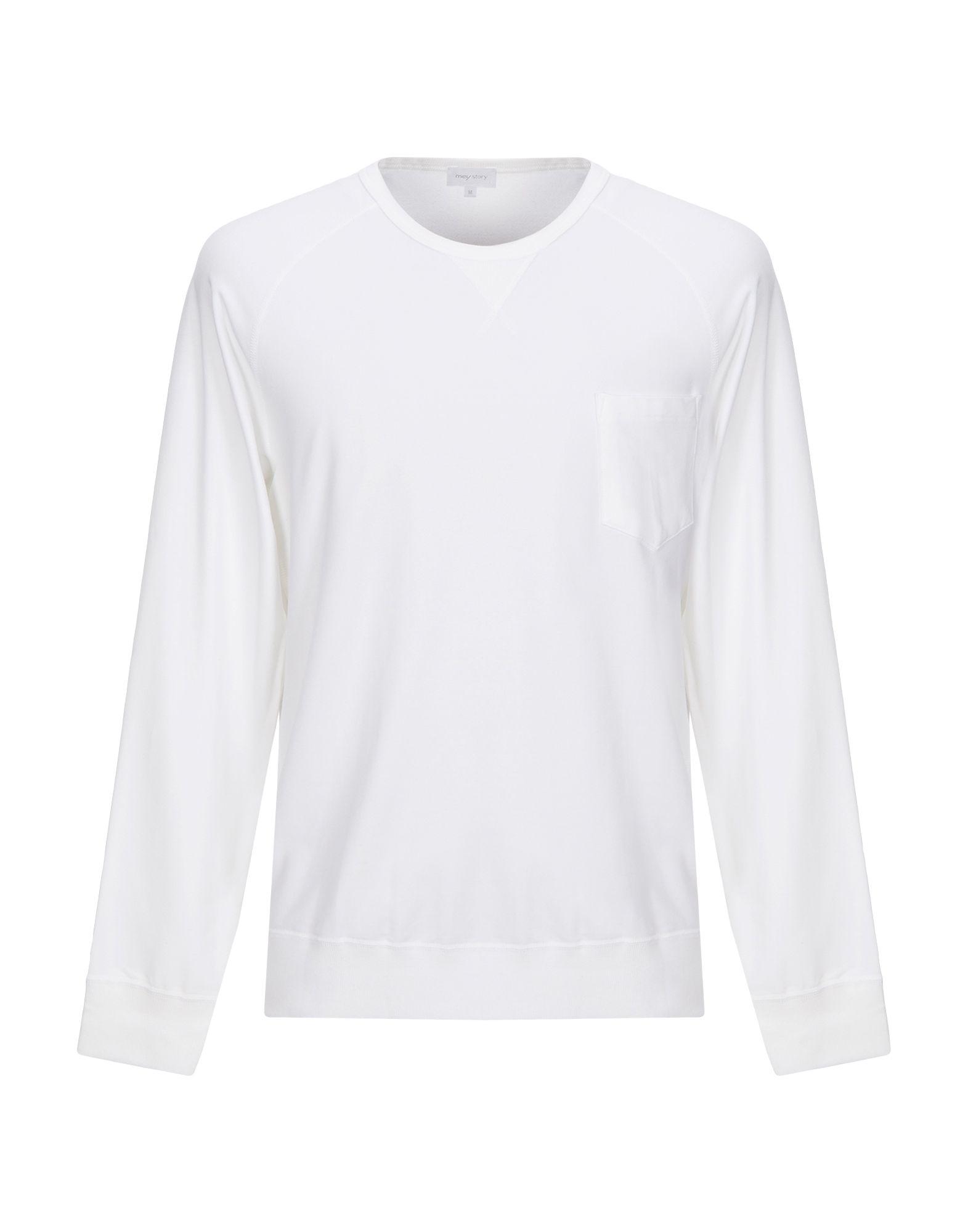 《セール開催中》MEY STORY メンズ スウェットシャツ ホワイト L コットン 48% / テンセル 48% / ポリウレタン 4%