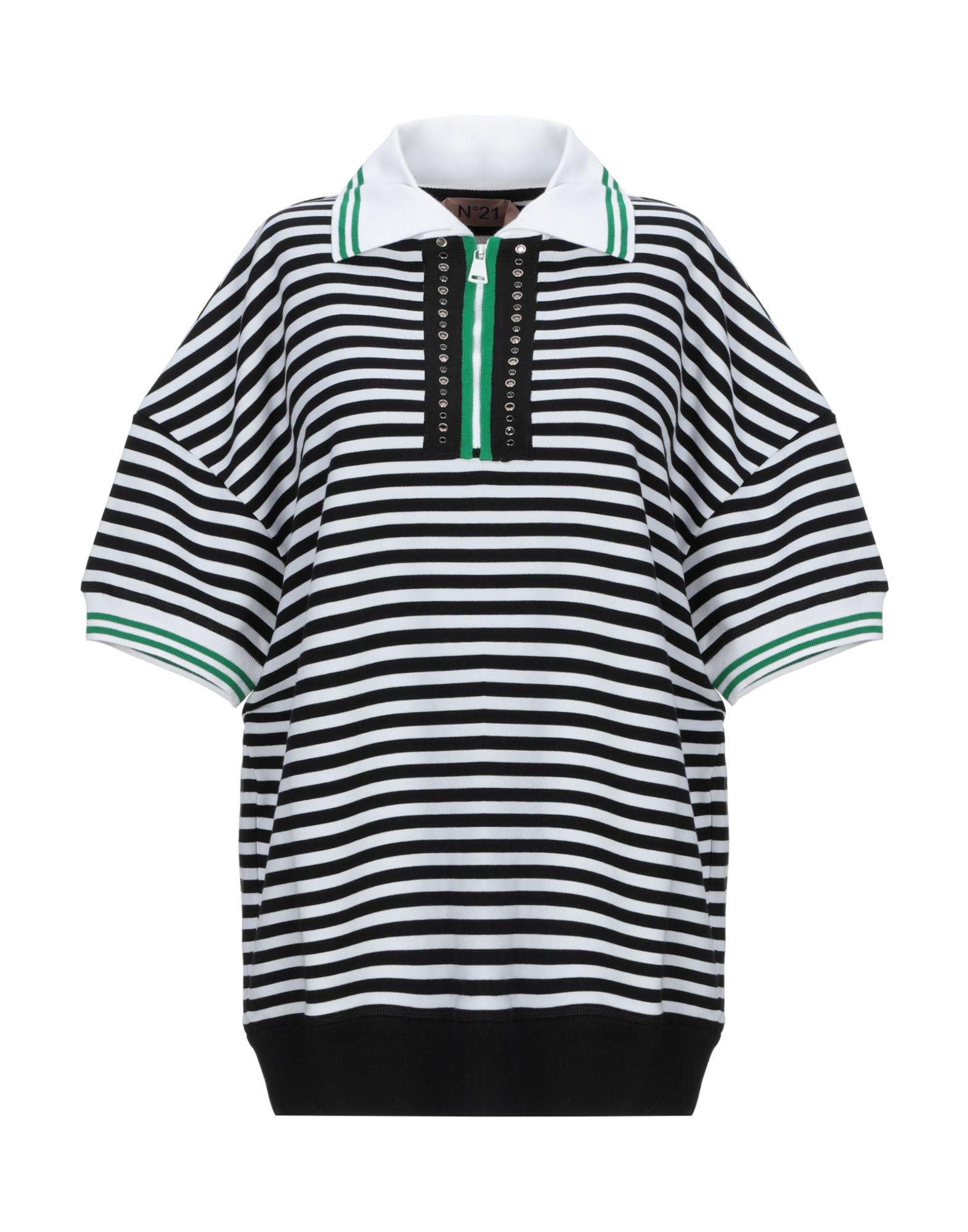 《セール開催中》N°21 レディース ポロシャツ ブラック 40 コットン 100% / レーヨン / 真鍮/ブラス / ガラス