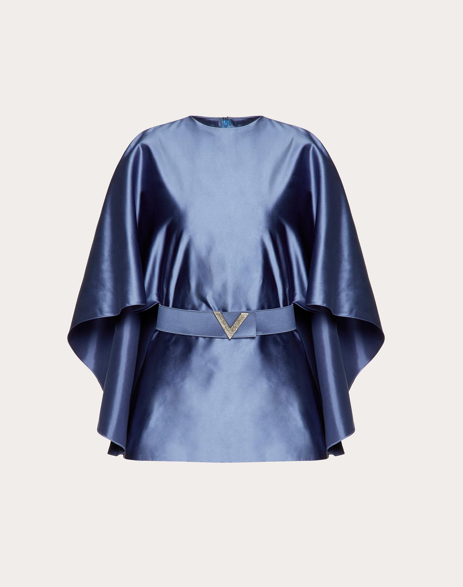 Duchesse-Silk Top with V Pavé Belt