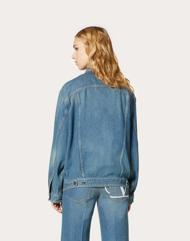 Deconstructed VLOGO Blue Denim Jacket