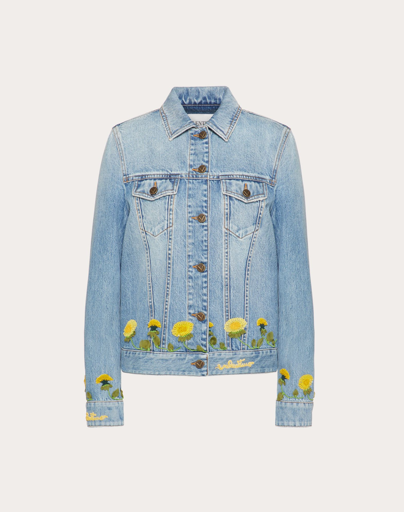 Embroidered Light Denim Jacket