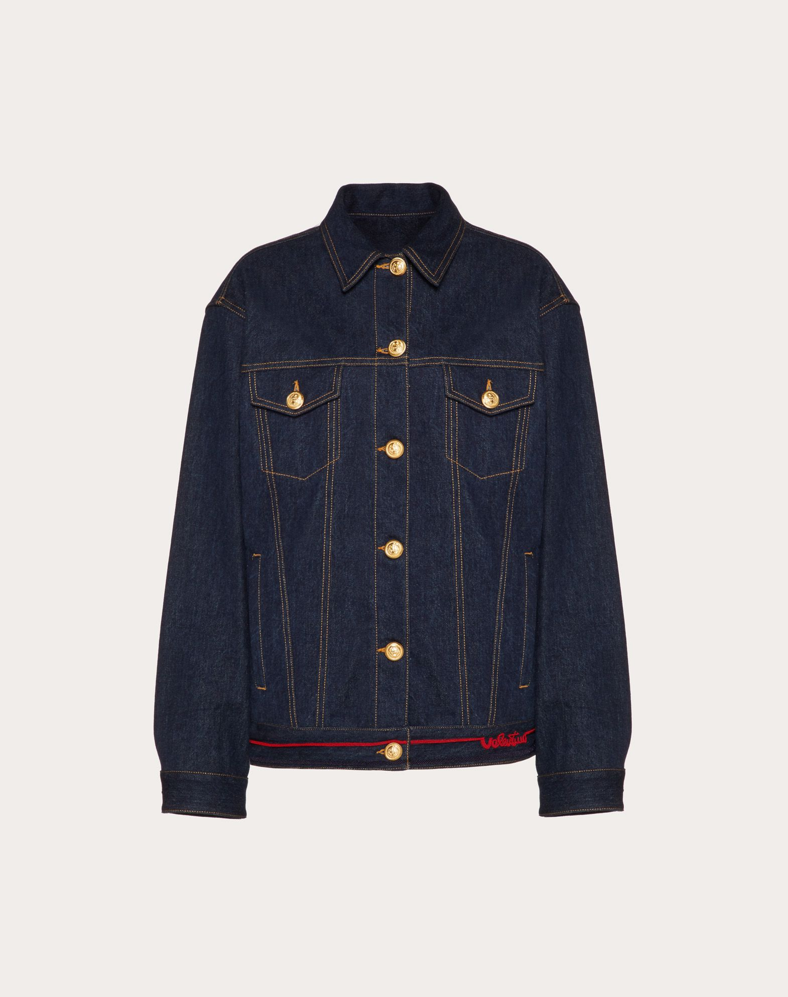 Denim Jacket with Valentino Signature Embroidery