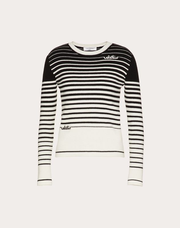Valentino Signature Cashmere Wool Sweater with Degradé Stripes