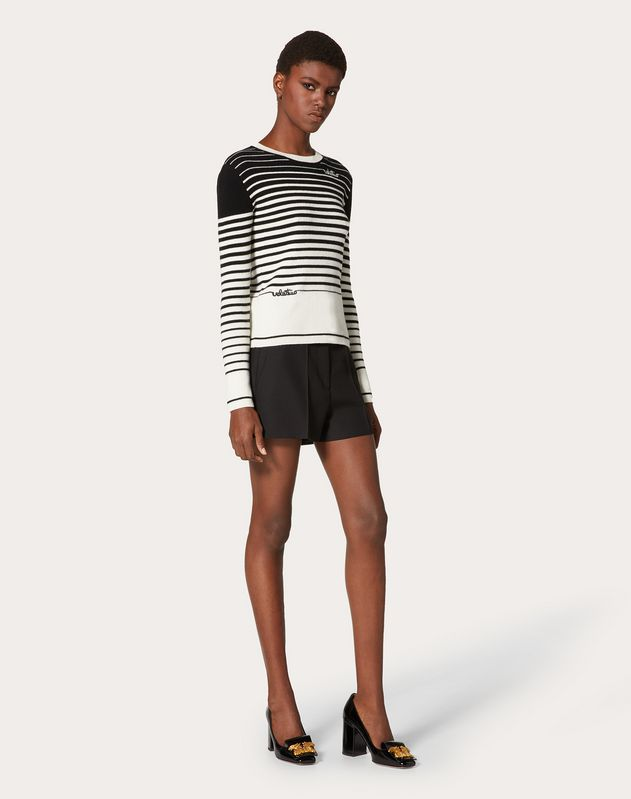 Valentino Signature Cashmere Wool Jumper with Degradé Stripes