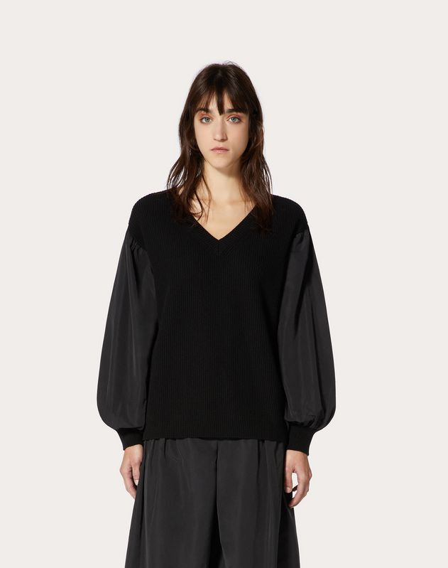 Cashmere Wool and Micro-Faille Sweater