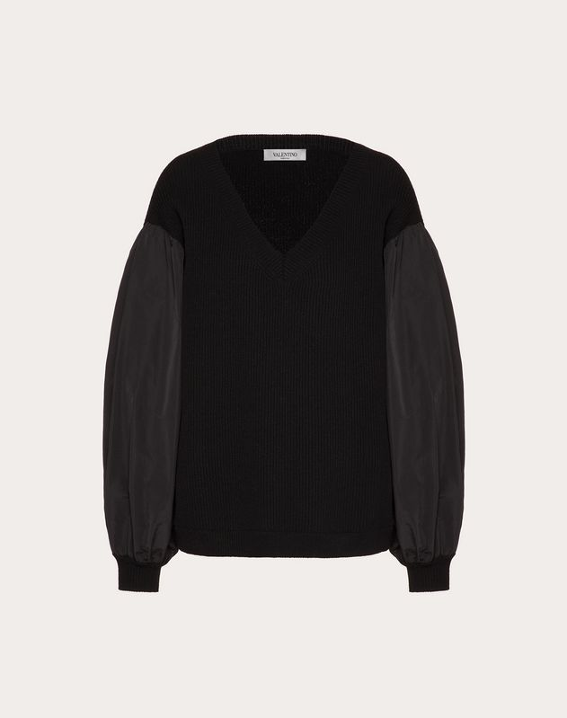 Cashmere Wool and Micro-Faille Jumper
