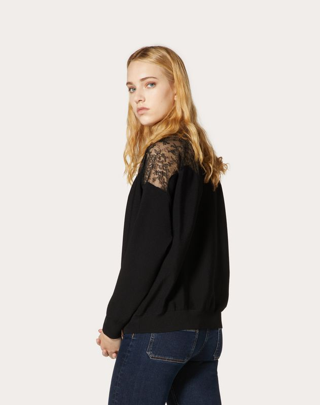 Stretch Viscose and Lace Sweater