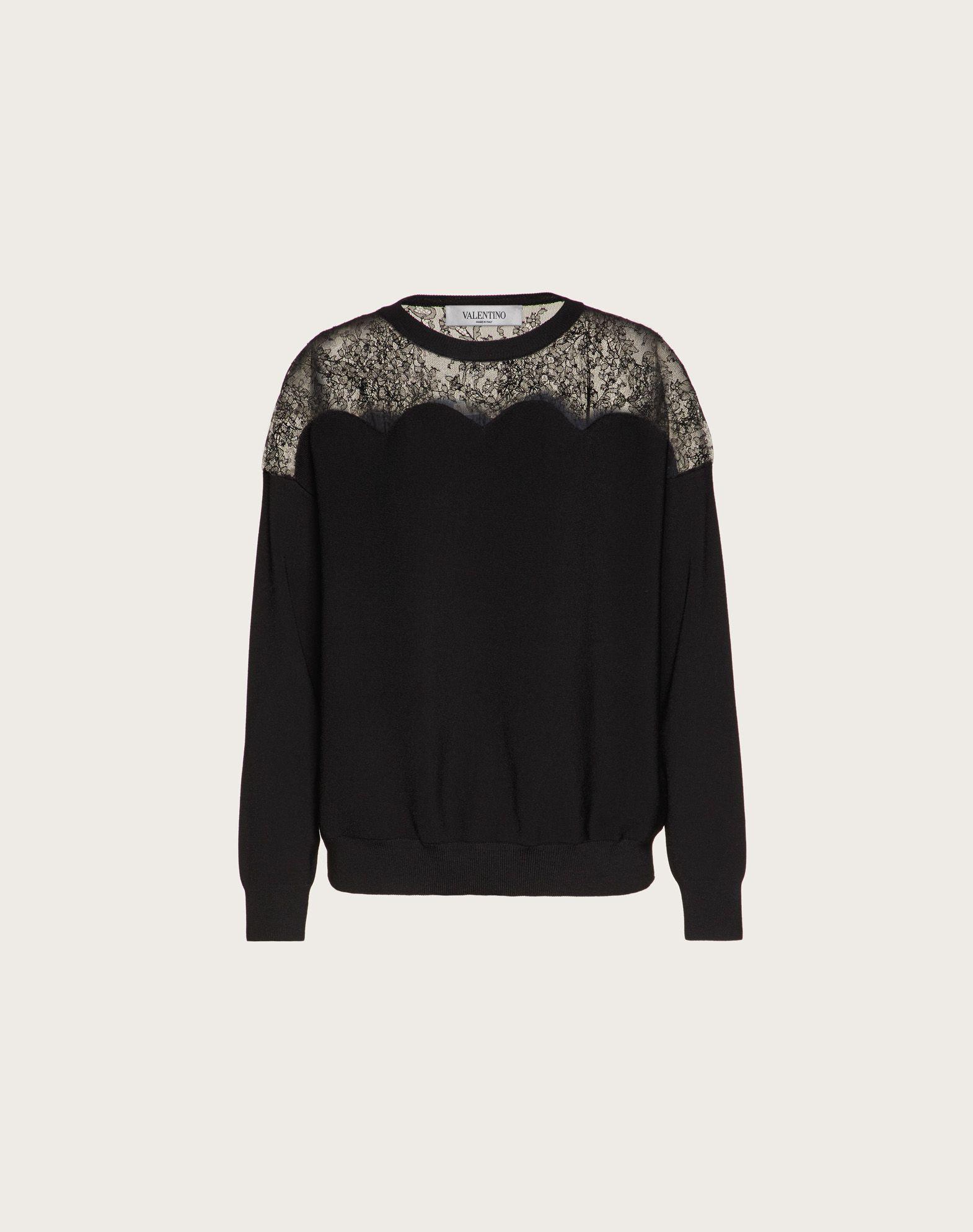 Stretch Viscose and Lace Sweater