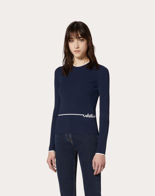 Viscose Sweater with Valentino Signature Embroidery