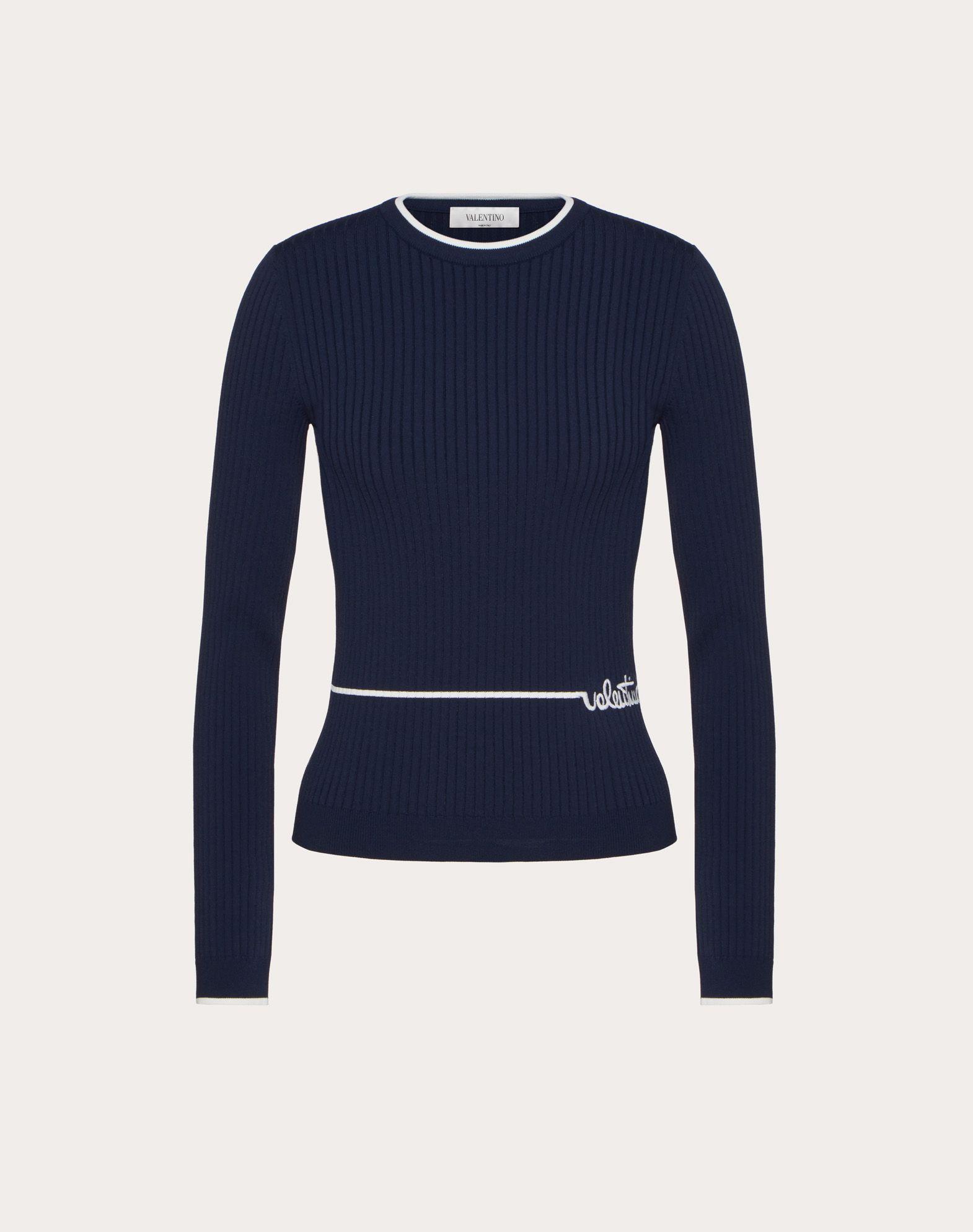 Viscose Sweater with Valentino Signature Embroidery
