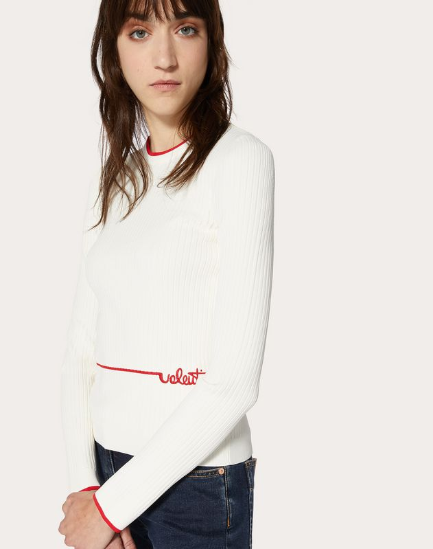 Viscose Jumper with Valentino Signature Embroidery