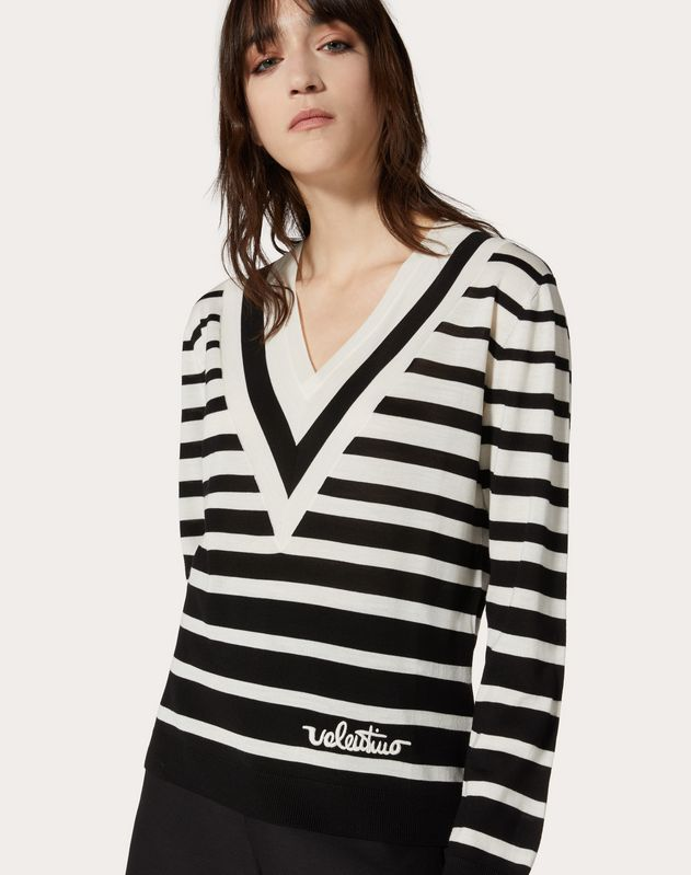 Valentino Signature Degradé Stripe Wool Sweater