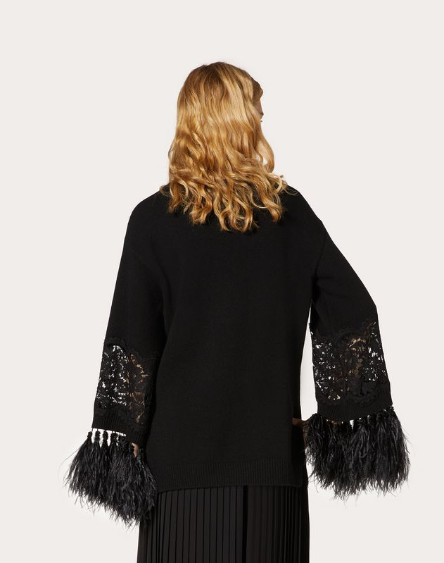 Wool Cashmere Sweater with Feathers