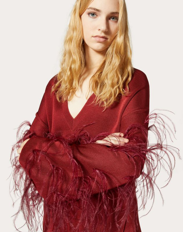 Viscose Jumper with Feathers