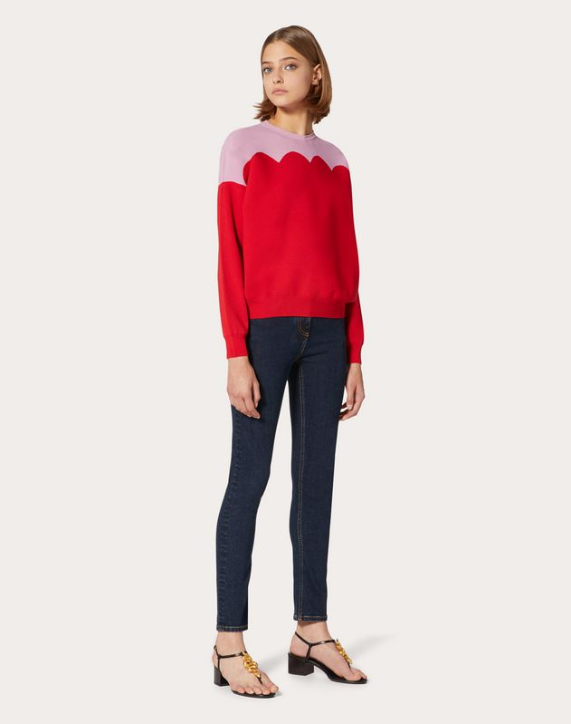 Scallop Stretch-Viscose Sweater