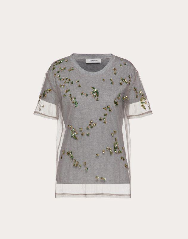 자수 장식 저지 & 튤 티셔츠