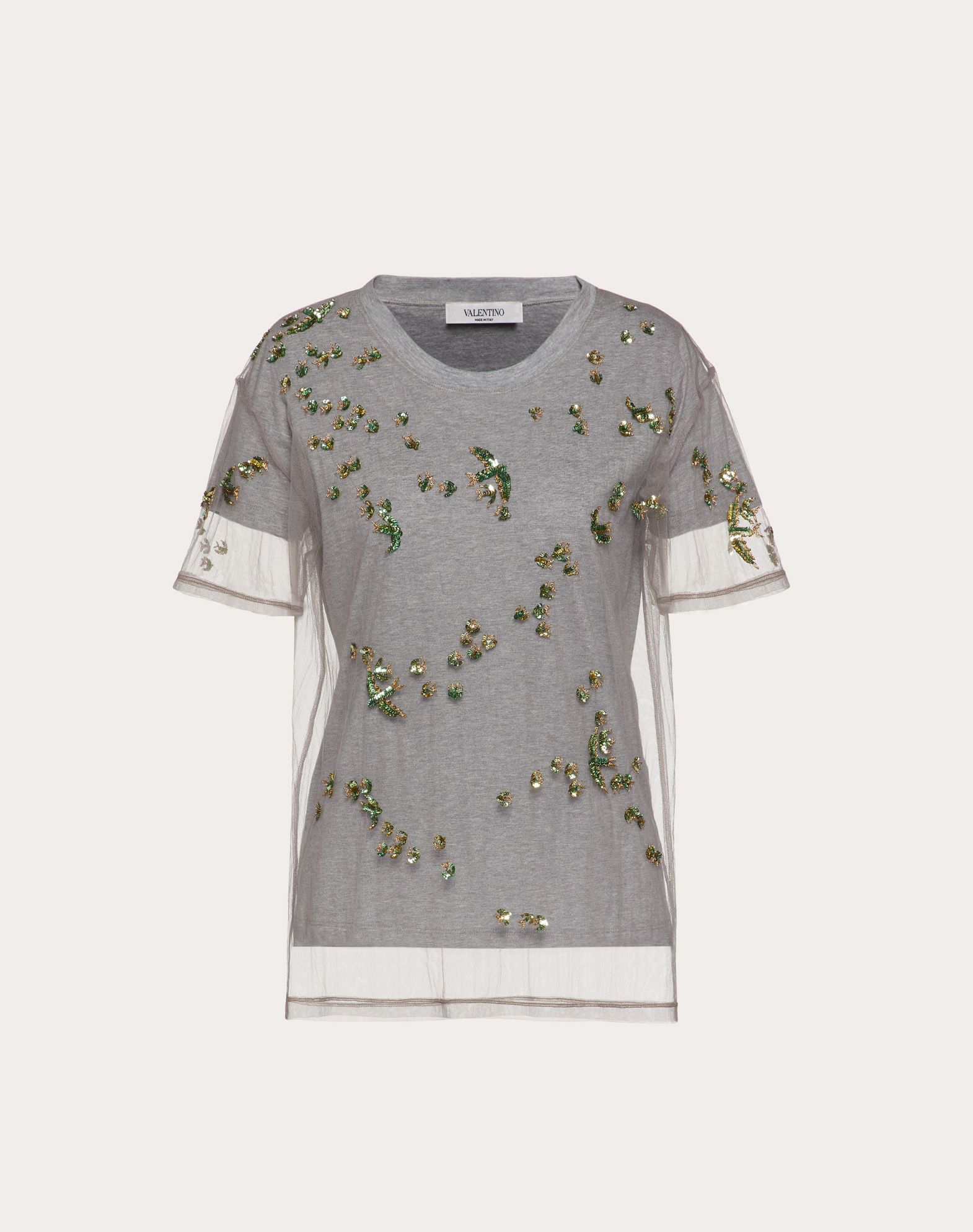 Embroidered Jersey and Tulle T-Shirt