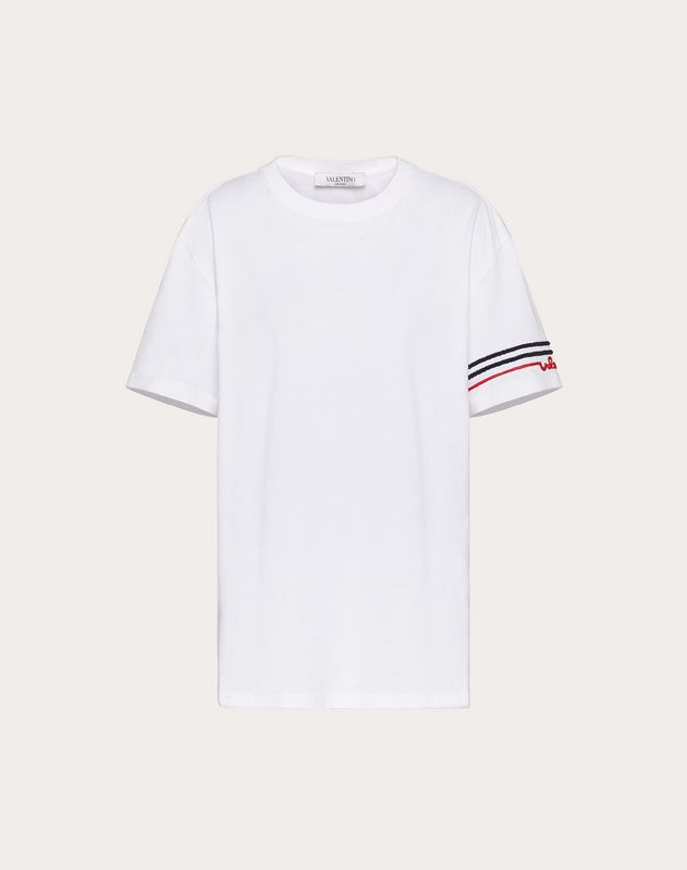 T-Shirt mit Valentino-Signatur-Stickerei