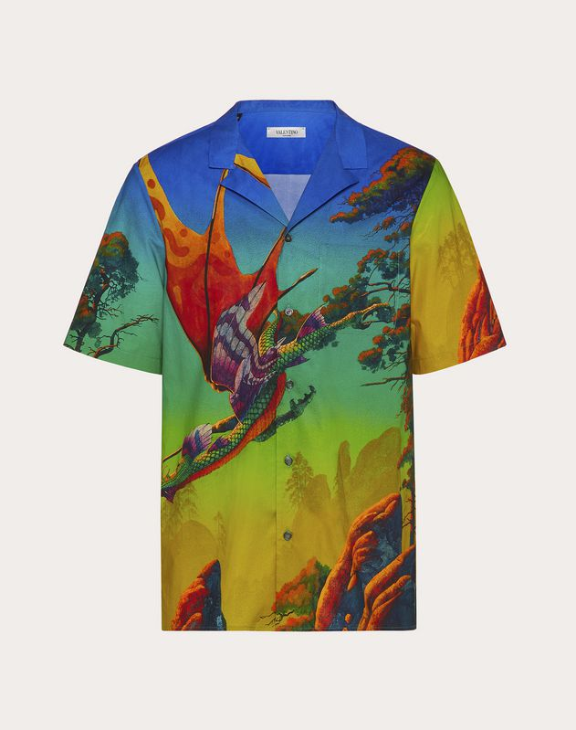 DRAGON AT DAWN PRINT SHORT-SLEEVED SHIRT