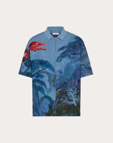 DRAGONS GARDEN VISCOSE POLO SHIRT
